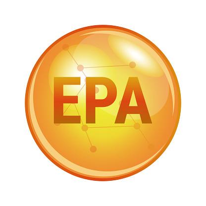 EPA omega-3 fatty acid capsule. Vector icon for health.