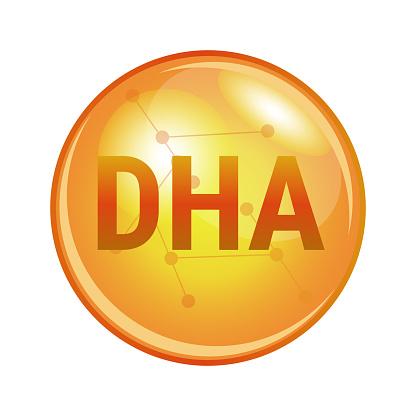 DHA omega-3 fatty acid capsule. Vector icon for health.