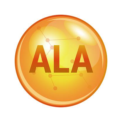 ALA omega-3 fatty acid capsule. Vector icon for health.