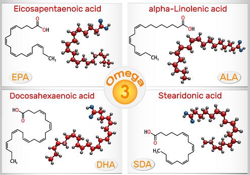 Omega-3, polyunsaturated fatty acids. Eicosapentaenoic acid (EPA), docosahexaenoic acid (DHA), stearidonic acid (SDA), alpha-linolenic acid (ALA)