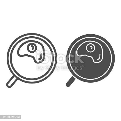 Omelette line and solid icon. Fried in a frying pan illustration isolated on white. Scrambled eggs outline style design, designed for web and app. Eps 10
