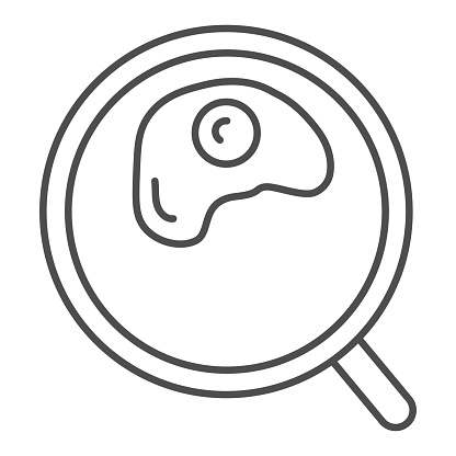 Omelette thin line icon. Fried in a frying pan illustration isolated on white. Scrambled eggs outline style design, designed for web and app. Eps 10