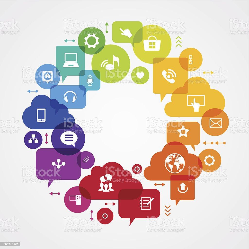 Сommunication in the global computer network vector art illustration