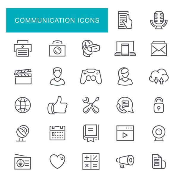 сommunication linie symbole - fotografieanleitungen stock-grafiken, -clipart, -cartoons und -symbole