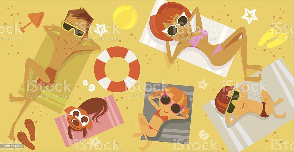 On a beach. vector art illustration
