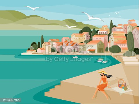 on a hot summer day, a woman in a hat made a picnic on the embankment by the sea against the background of houses with red roofs and yachts, seagulls fly, vector illustration