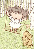 The vector drawing of a little girl on a swing.