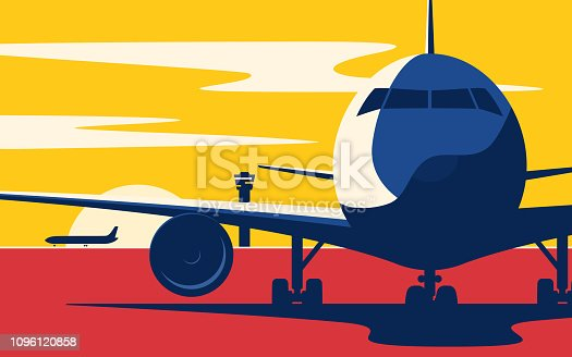 On a taxiway. Flat style vector illustration of the airliner at sunset at the airport.