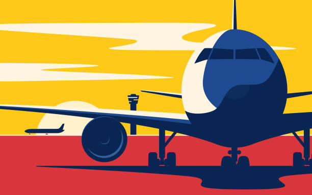 on a taxiway. flat style vector illustration of the airliner at sunset at the airport. - modern art stock illustrations