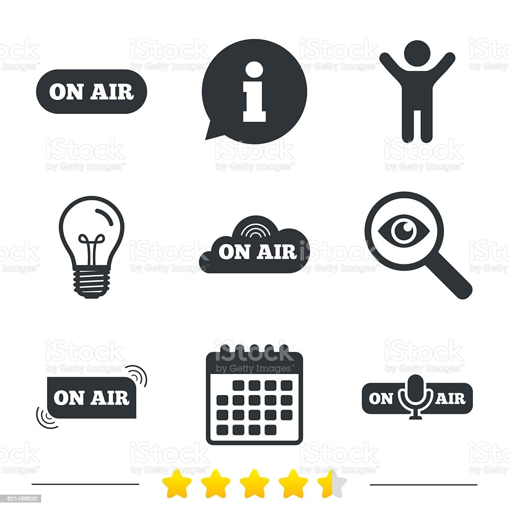 On Air Icons Live Stream Signs Microphone Stock Illustration