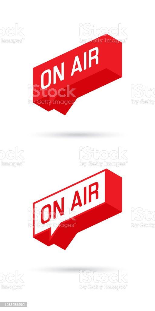 On Air sign, emblem, logo. Live stream symbol. Speech bubble. Vector illustration. vector art illustration