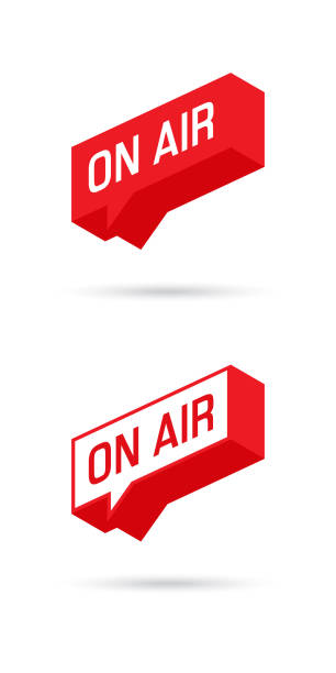 On Air sign, emblem, logo. Live stream symbol. Speech bubble. Vector illustration. On Air sign, emblem, logo. Live stream symbol. Speech bubble. Illustrration on-air sign, broadcast media sound, radio and television record. radio stock illustrations