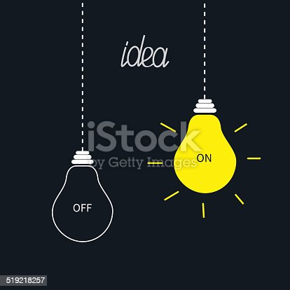 istock On and off bulbs in the dark. Idea concept. Flat 519218257