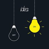 On and off bulbs in the dark. Idea concept. Flat