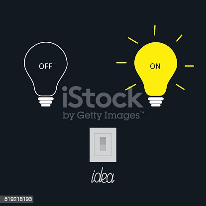 istock On and off light bulbs with tumbler switch. Idea concept. 519218193