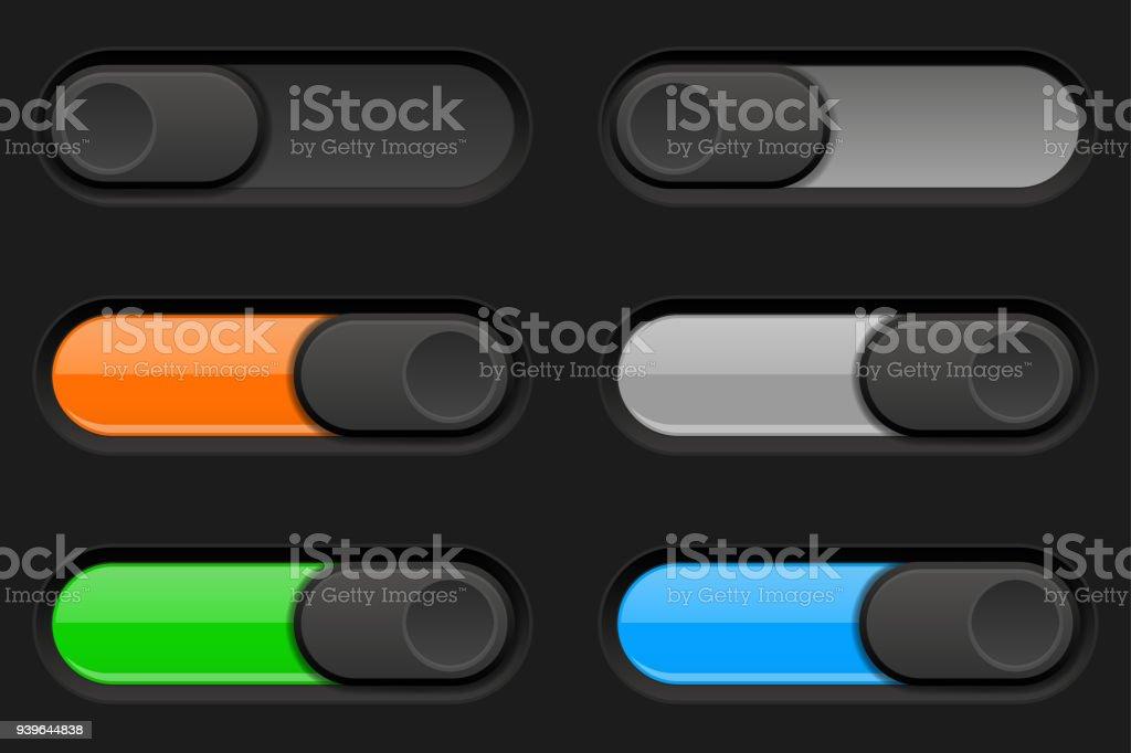 Ein Und Ausschalten Lange Ovale Symbole Schwarze Und Farbige ...