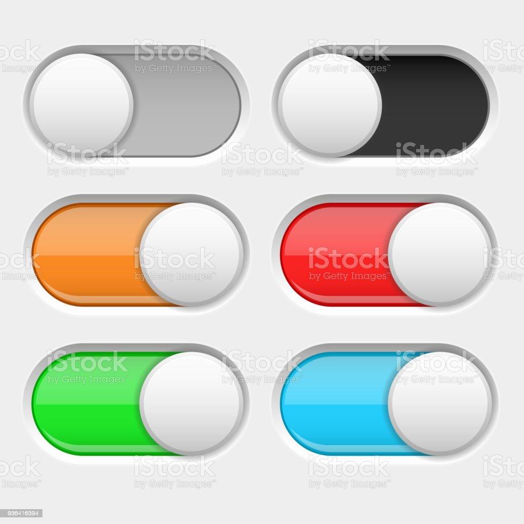 Ein Und Ausschalten Lange Ovale Symbole Grau Und Farbige Schalter ...