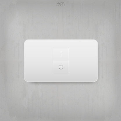 """""""On"""" and """"Off"""" switch. Light switch on gray concrete wall texture background."""