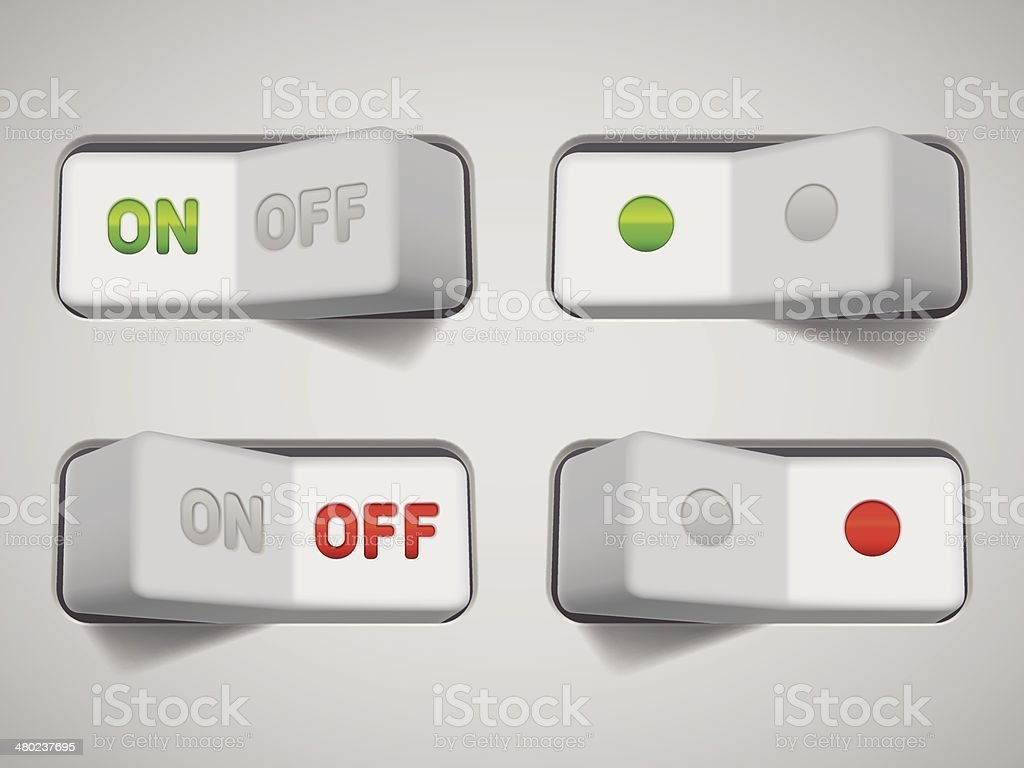 On and Off switches. vector art illustration