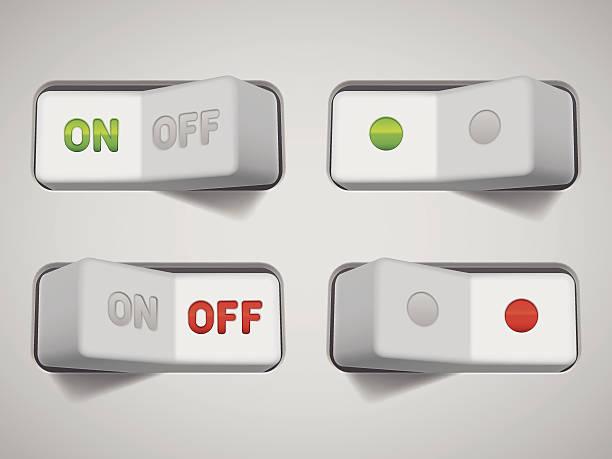 ilustraciones, imágenes clip art, dibujos animados e iconos de stock de interruptores de conexión y desconexión. - interruptor