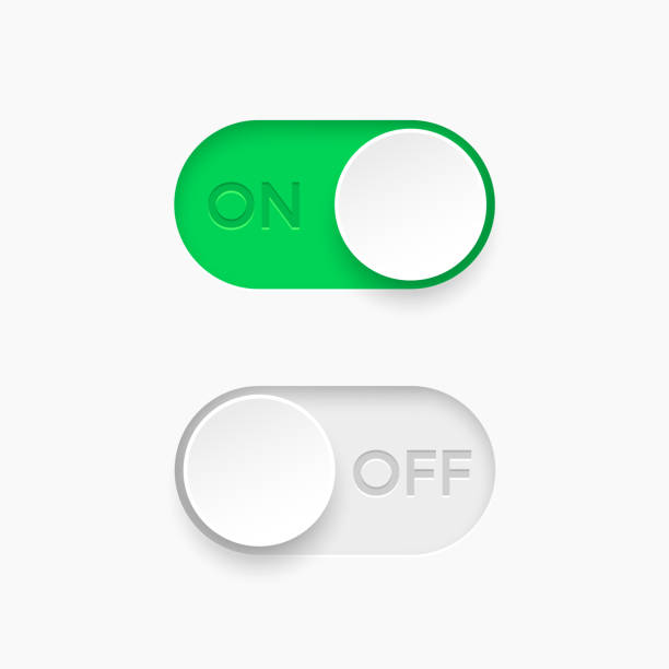 on and off toggle switch buttons. material design switch  buttons set. vector illustration. - przycisk stock illustrations