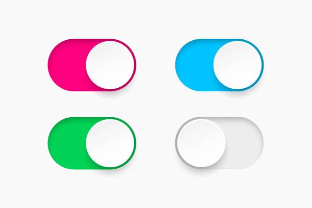 ilustrações, clipart, desenhos animados e ícones de ligar e desligar alternar alterne botões. interruptor de projeto material botões conjunto. ilustração em vetor. - deslize