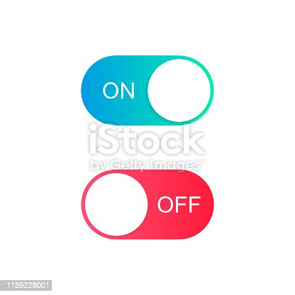 On and Off toggle switch buttons. Modern flat style vector illustration.