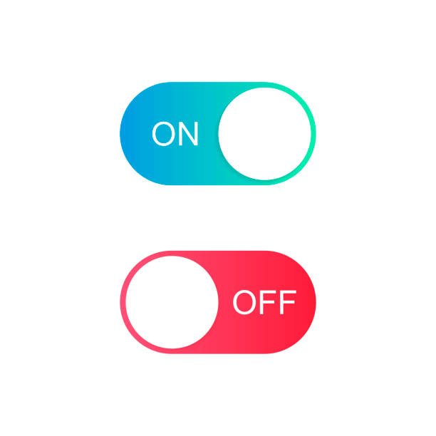 ilustrações de stock, clip art, desenhos animados e ícones de on and off toggle switch buttons. modern flat style vector illustration - acender
