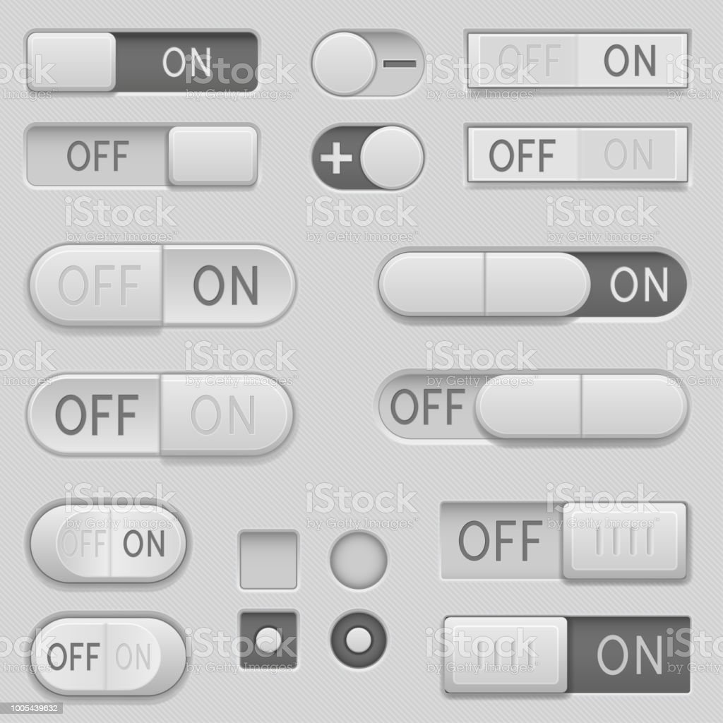 On And Off Toggle Switch Slider Buttons Interface Icons Set Stock ...