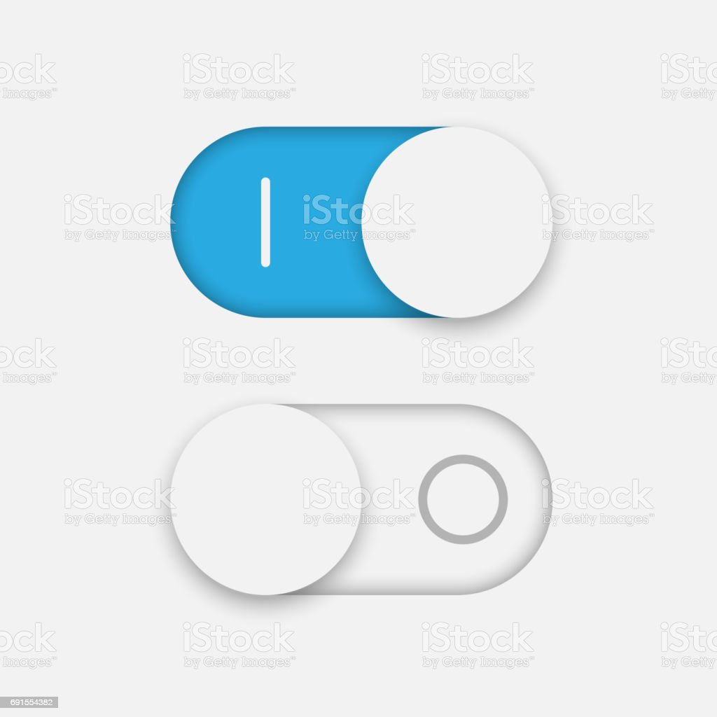 On and Off toggle Switcher vector art illustration