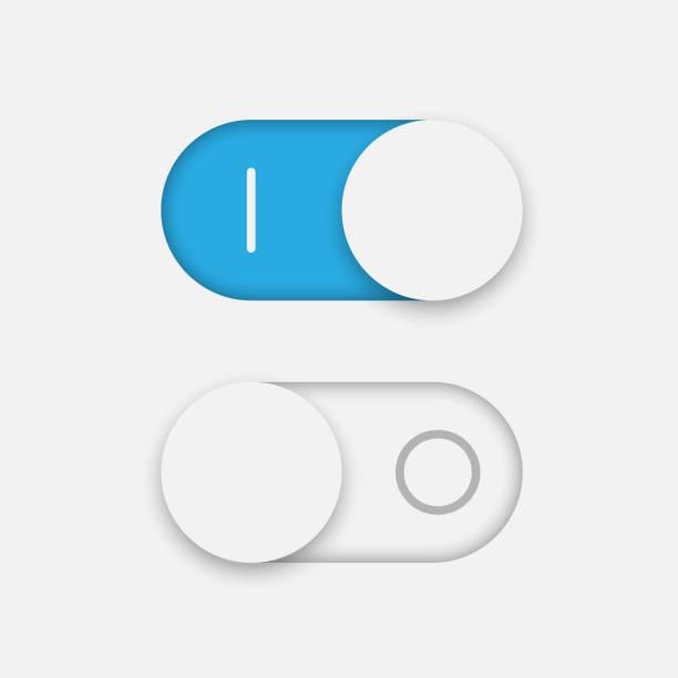 ilustraciones, imágenes clip art, dibujos animados e iconos de stock de encendido y apagado palanca de conmutación - interruptor