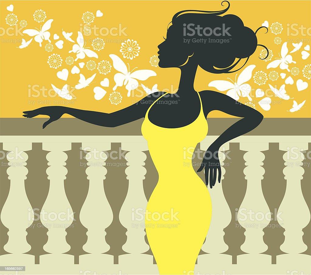 On balcony. royalty-free stock vector art