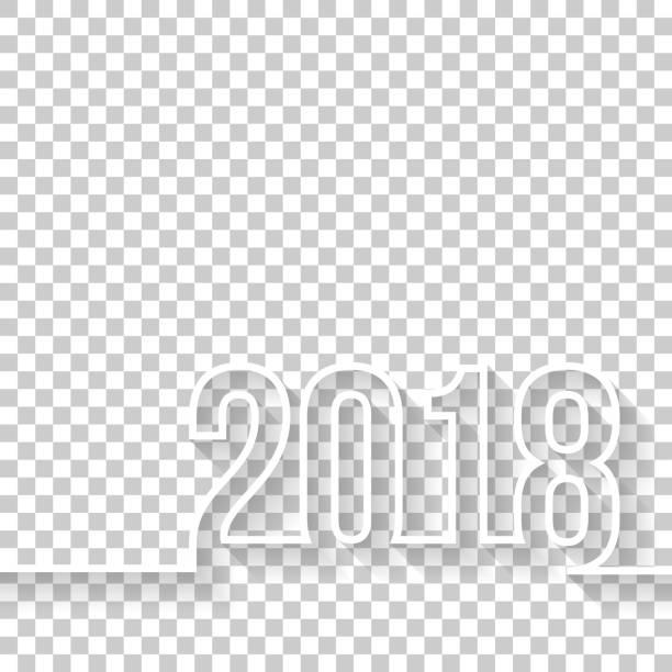 stockillustraties, clipart, cartoons en iconen met 2018 op lege achtergrond - 2018