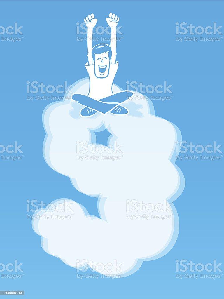 On Cloud Nine vector art illustration