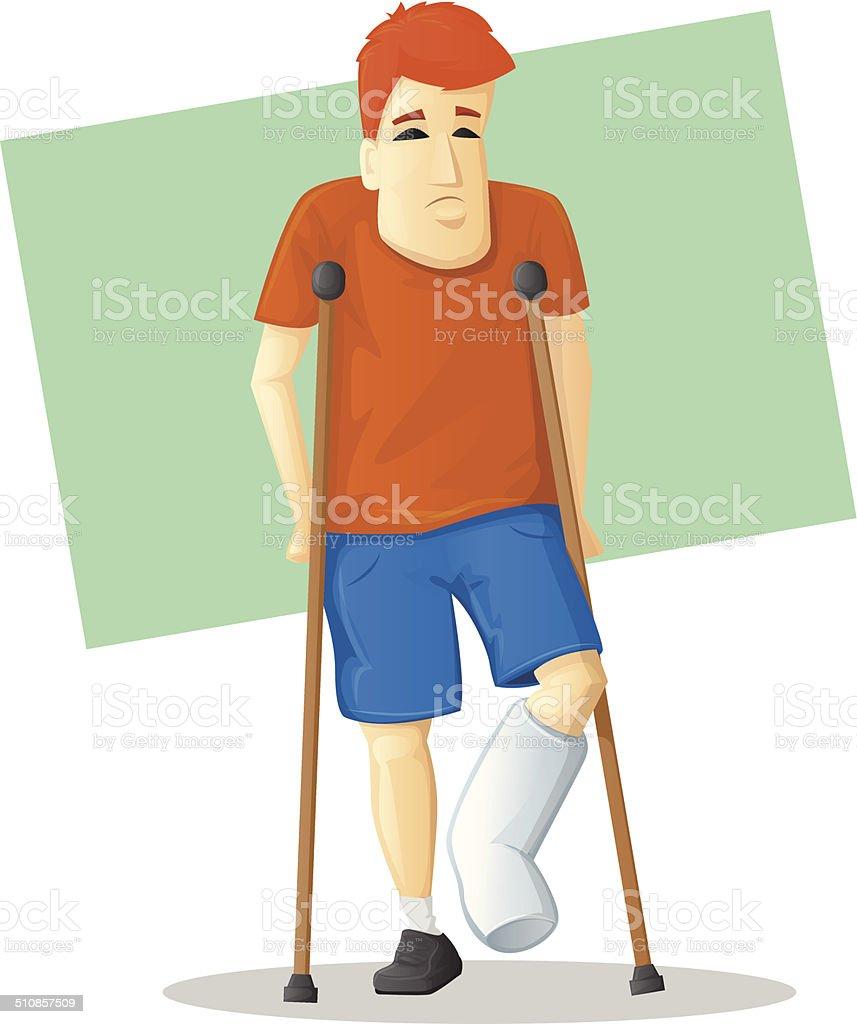 On Crutches vector art illustration