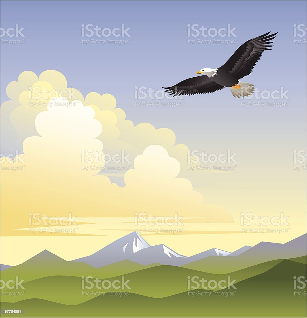 On Eagles Wings royalty-free stock vector art