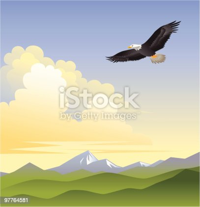 Eagle soaring over mountain range.  Includes: AI8, PDF and SVG.  [img]http://www.artchest.com/downloads/eagle_detail.jpg[/img]