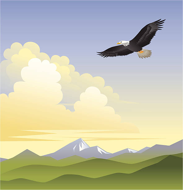 On Eagles Wings vector art illustration