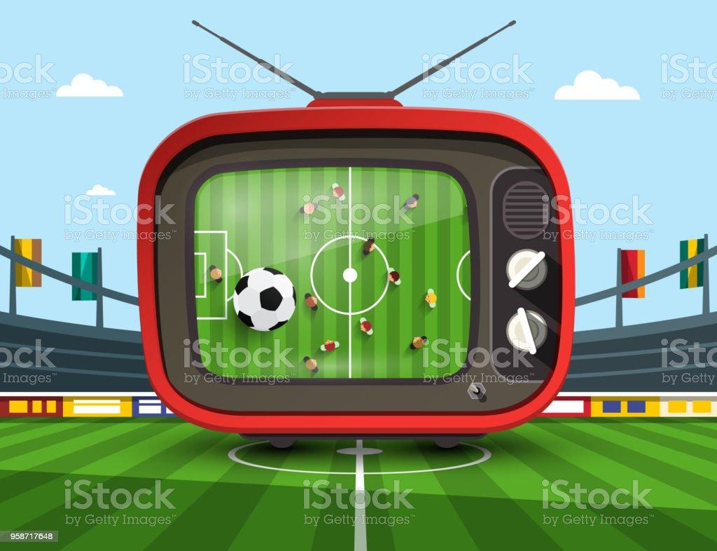 TV on Footbal Stadium vector art illustration