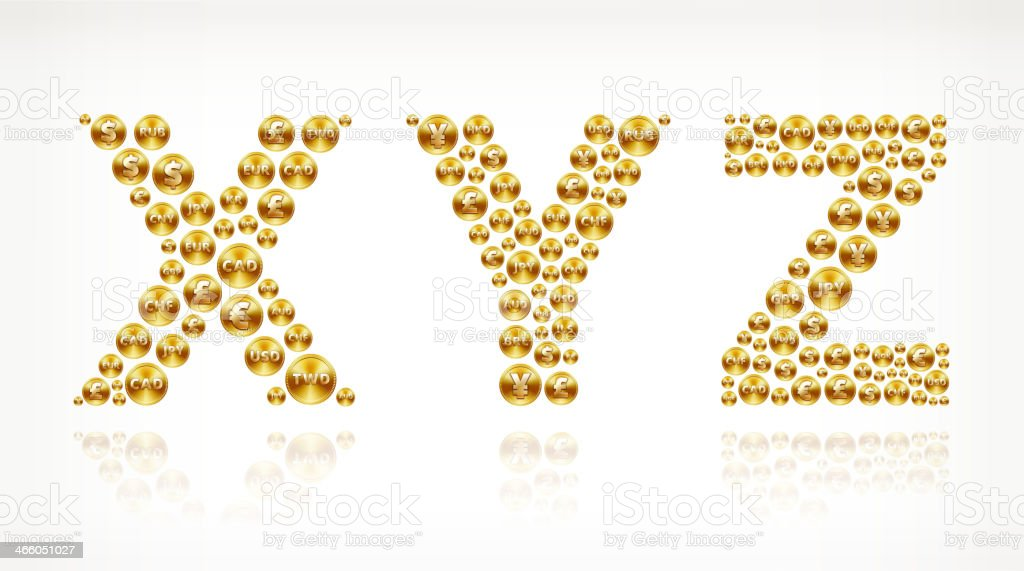 XYZ on Gold Coin Buttons royalty-free stock vector art