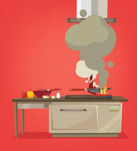 On kitchen stove burns food On kitchen stove burns food. Vector flat cartoon illustration stove stock illustrations