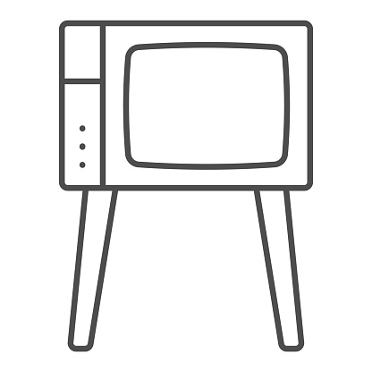 TV on legs thin line icon, monitors and TV concept, old fashioned vintage tv on legs vector sign on white background, outline style icon for mobile concept and web design. Vector graphics.