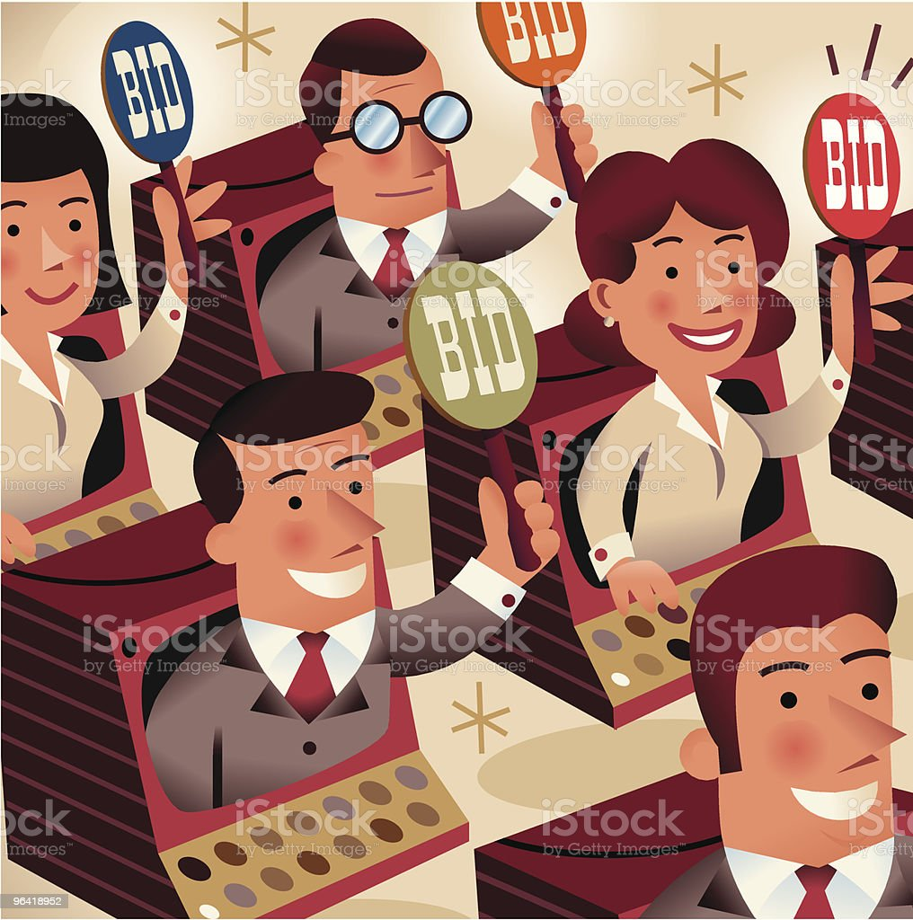 On Line auctions vector art illustration