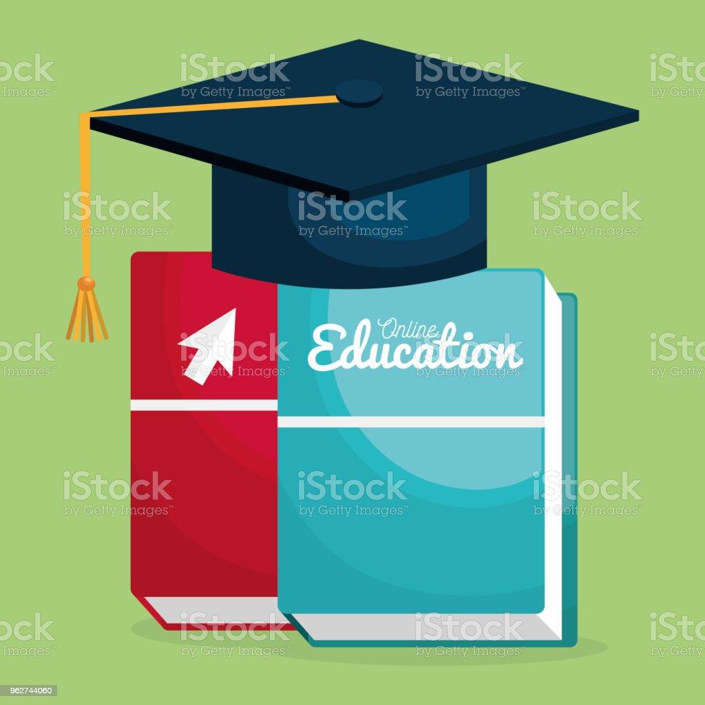 on line education with hat graduation - arte vettoriale royalty-free di Affari