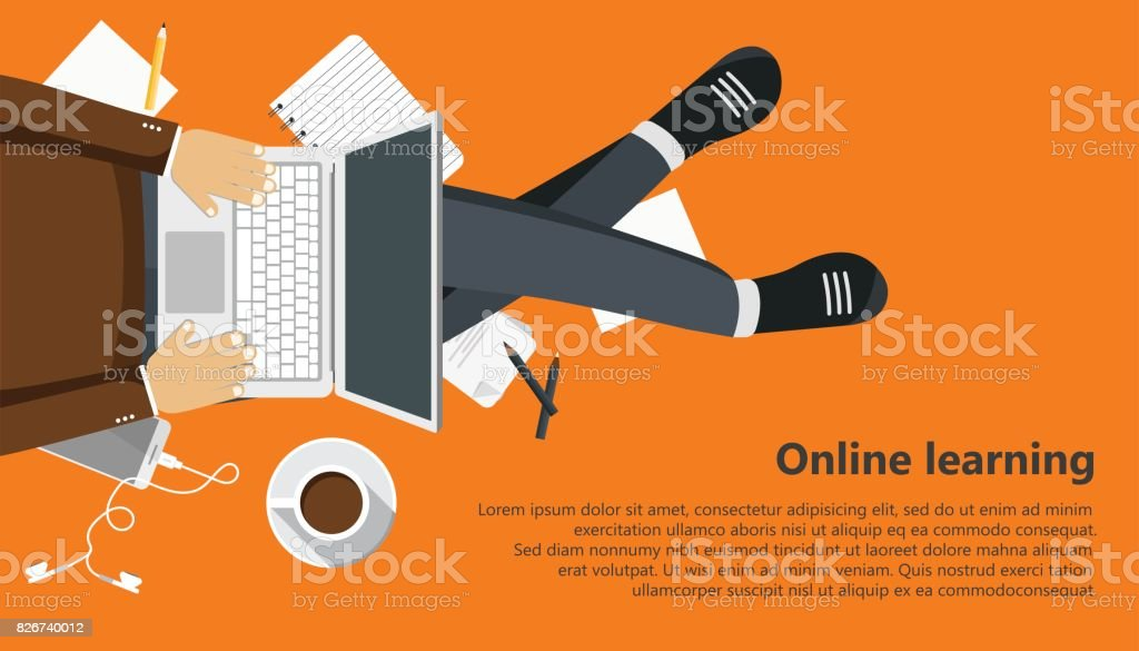 On line learning business banner. Man sitting and holding lap top in his lap. Flat vector illustration vector art illustration