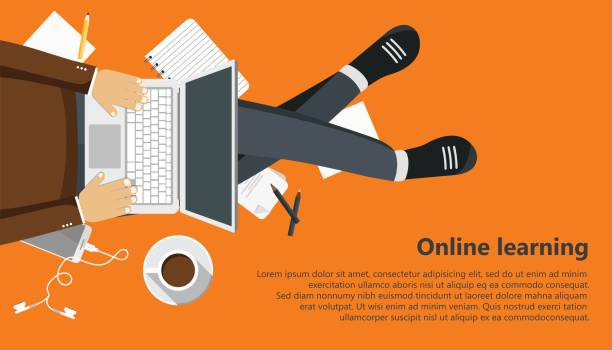 on line learning business banner. man sitting and holding lap top in his lap. flat vector illustration - online learning stock illustrations