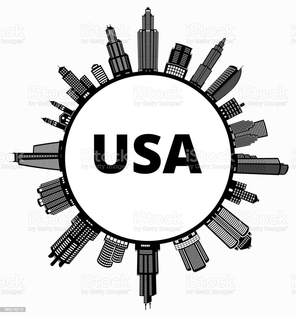 USA  on Modern Cityscape Skyline Background royalty-free usa on modern cityscape skyline background stock vector art & more images of architecture