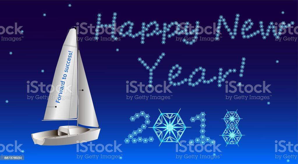 On New Year's Eve the sailboat sails to the success. vector art illustration