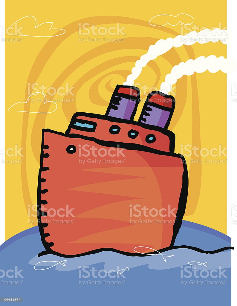 BOAT on ocean - Royalty-free Atlantische oceaan vectorkunst
