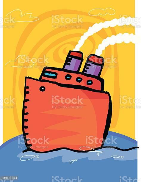 Boat On Ocean-vektorgrafik och fler bilder på Atlanten
